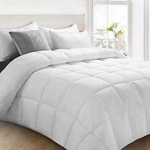 Fraylon All Season King Comforter, Soft Quilted Down Alternative Comforter Hotel Luxury Collection Reversible Duvet Insert with Corner Tabs, Fluffy & Lightweight,90x102 Inches,White