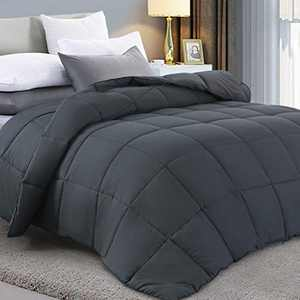 Fraylon All Season Queen Comforter, Soft Quilted Down Alternative Comforter Hotel Luxury Collection Reversible Duvet Insert with Corner Tabs, Fluffy & Lightweight,88x88 Inches,Dark Grey