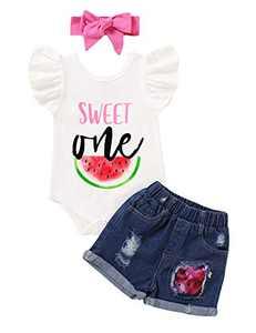 Shalofer 1st Birthday Girl Outfits First Birthday Shirt Sweet One Toddler Girl Denim Jeans (White-Short,6-12 Months)