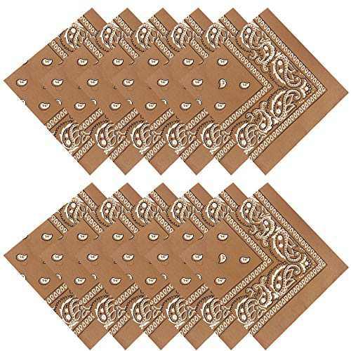 12PCS Bandanas Paisley Print Cowboy Style Unisex Headwraps light Coffee
