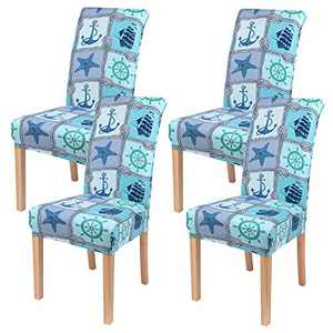 smiry 4 Pack Printed Dining Chair Covers, Stretch Spandex Removable Washable Dining Chair Protector Slipcovers for Home, Kitchen, Party, Restaurant (Light Blue)