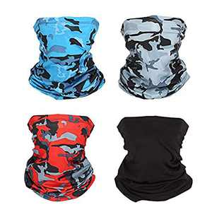 HAIY Sport Scarf Multifunction Face Scarf, Neck Scarf Dustproof Windproof Scarf, 4 Pieces Unisex Elastic Mask Breathable Bandana, Face Scarf for Camping, Running, Cycling, Fishing and Hunting
