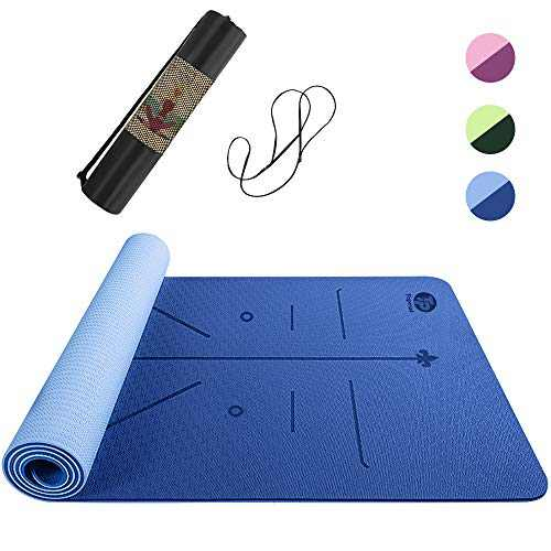 Topmat Yoga Mat,Eco Friendly TPE Non Slip Textured Surfaces Exercise & Workout Mat with Alignment Lines for Yoga,Pilates,Gym and Floor Exercise 6MM Thick Double Sided(183cm x 61cm) Professional-Blue