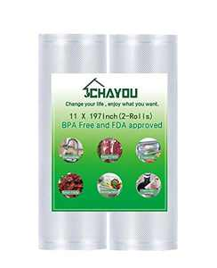 CHAYOU Vacuum Sealer Bags 11 x 197 Inch 2 Rolls Commercial Grade, Storage Seal a Meal Vac Sealers, Heavy Duty Commercial, Perfect for Meal Prep or Sous Vide