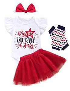 Baby Girls My 1st Fourth of July Outfits Infant Cute Tutu Lace Skirt Set with Leg Warmer (Red,6-12 Months)