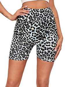 WDIRARA Women's Leopard Print Elastic Waist Stretch Sporty Short Leggings Multicolor S