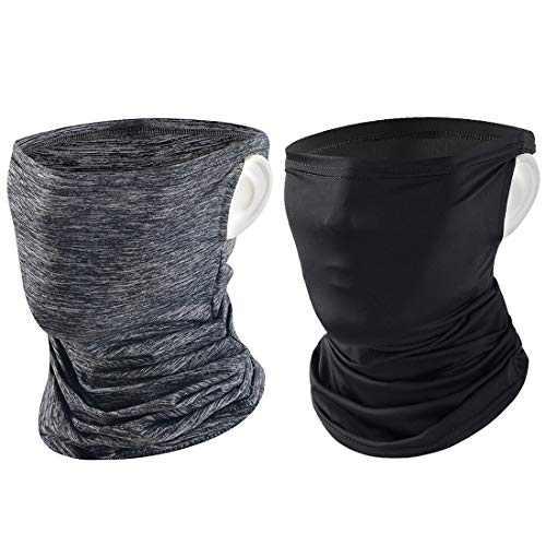 Tufusiur Neck Gaiter Face Mask Women Men, Balaclava Scarf Neck Gaiters Cover Bandana Gator Fishing Ski Mask for Dust Wind Sun, 2 Packs