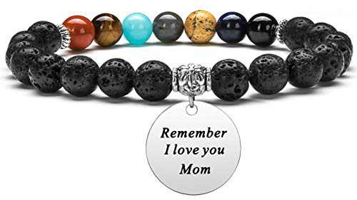 Hamoery Inspirational Gifts for Mom Mother's day Birthday Present Women 8mm Lava Bracelet personalized Aromatherapy Essential Oil Diffuser Anxiety Bracelet Elastic Natural Stone Yoga Beads Bracelet (Mom)