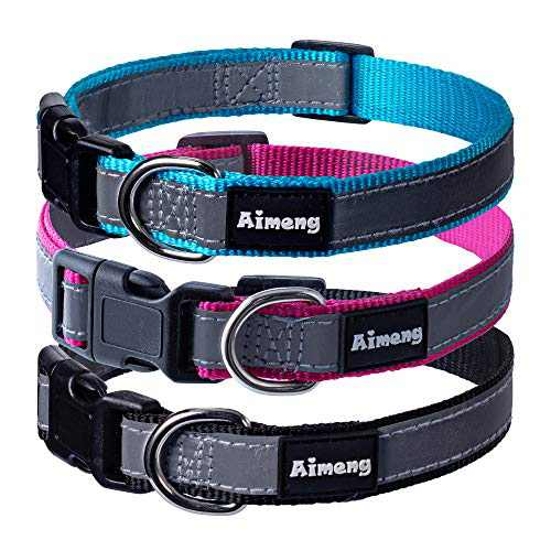 Aimeng Reflective Pet Puppy Collar,Nylon Dog Collar with Adjustable Buckle Reflective Stripe Basic Collar for Small Medium Large Boy Girl Puppy Collar (1 Pack)
