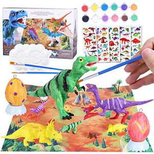 Max Fun 28PCS Dinosaur Painting Kit with Play Mat Egg 3D DIY Art Dinosaur Handcraft Set Toys for Kids Boys Toddlers