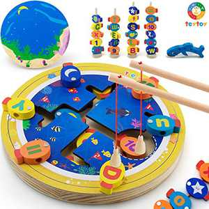 teytoy Magnetic Wooden Fishing Game Set, Alphabet Number Shape Learning Educational Toy for Kids Toddlers Fine Motor Skill Learning Count Thread SOR Stack Fishing All in One(35 PCS)