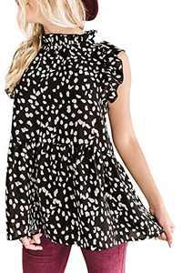 Avanova Women's Ruffle Sleeve Leopard Printed Babydoll Top Casual Loose Mock Neck Blouse Shirt Tunic Tops Black S