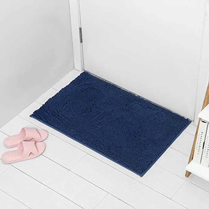 ARNTY Bath Mat Non Slip,Bathroom Mats Shower Rugs Carpet Soft Microfiber/Chenille Water-Absorbent Floor Mat (Blue-Chenille, 50x80cm)