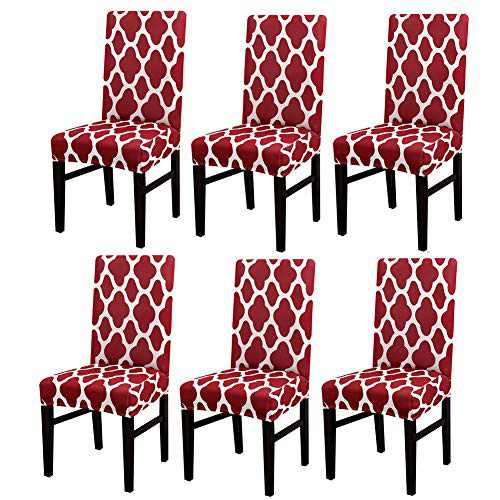 Dining Chair Covers , GULI 6Pcs Spandex Elastic Chair Seat Cover Modern Stretch Chairs Protective Cover, Removable Washable Slipcovers (Dark Red)