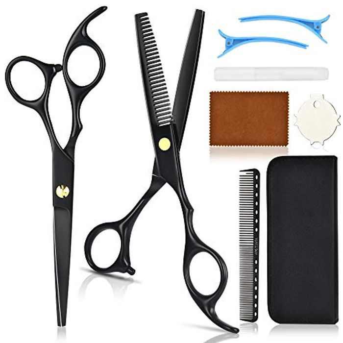 MS.DEAR Hairdressing Scissors Hair Scissors with Hair Clips Set Thinning Scissors Hair Cutting Scissors for Men Women Kids Salon Barbers Home Use