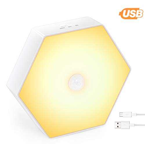 Hexagonal Rechargeable Motion Sensor Lights,600mAH LED Stick-On Closet Light,Warm White for Wall,Stairs, Cabinet,Bedroom,Hallway(1Pack))