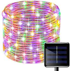 Oluote Solar Rope Lights, 100 LEDs 33ft/10M 2Modes Waterproof Solar String Copper Wire Light, Outdoor Rope Lights for Garden Yard Path Fence Tree Wedding Party Decorative (8 Modes, Multicolor)