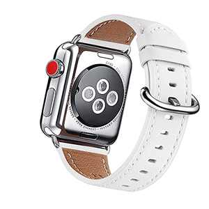 OMIU Leather Bands Compatible for iWatch 38mm 40mm 42mm 44mm, Genuine Leather Replacement Band Compatible with Apple Watch Series 6/5/4/3/2/1,iWatch SE (White/Silver Connector, 42mm 44mm)