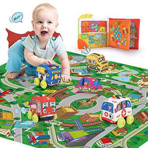 REMOKING Pull-Back Vehicle Toys Set, STEM Soft Vehicle Toy Set 5 Cars with Play Mat, Educational Interesting Cloth Book Set, Great Gifts for Kids 3 Years and up