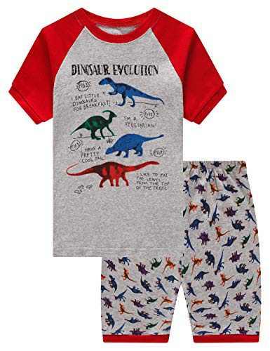 Family Feeling Dinosaur Little Boys Short sleeve Pajamas Sets 100% Cotton Summer Pyjamas Kids Pjs Size 4T Dinosaur