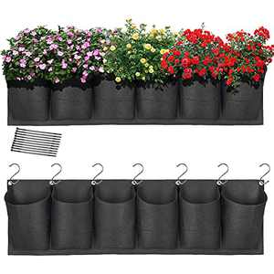 HugeHard Hanging Garden Planter with 6 Pockets, Waterproof Wall Planter Pouch Basket Bag with 7 Hooks, Balcony Planters with 10 Nylon Ties for Yard Patio Lawn Garden Fence Plants Wall, Black