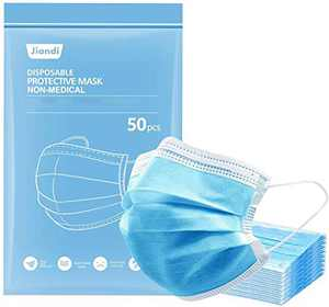 Jiandi 50PCS Face Masks Disposable, 3-Ply Adults Protective Safety Face Mask with Metal Nose Clip Breathable Non-Woven Mouth Face Cover for Men Women