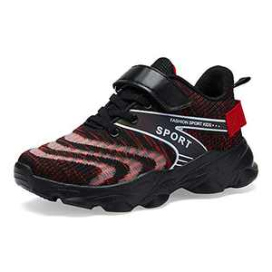 Forucreate Kids Running Shoes Breathable Boys Sneakers Girls Lightweight Athletic Shoes (Red 30)