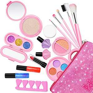 Pickwoo Kids Makeup Kit for Girl Natural Pollen Washable Makeup Kit for Teen Girl Play Makeup for Little Girls with Makeup Brush Set, Nail Art Girls Makeup Princess Birthday, Ideal for Kids
