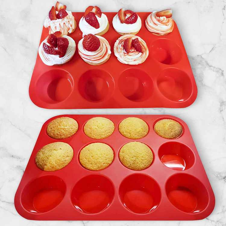 FRSWAY Silicone Muffin Mould Tray Silicone Baking tin for 12 Muffins or Cupcakes, Silicone Muffin tin, Mini Baking tin, Cupcake tin(2pack)