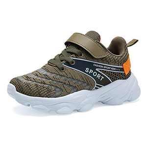 Forucreate Boys Girls Shoes for Kids Tennis Running Walking Athletic Sport Lightweight Fashion Sneakers (Khaki 31)