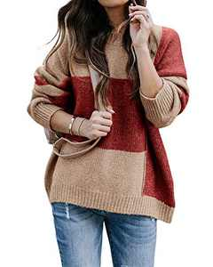 Tutorutor Womens Color Block Crew Neck Sweaters Oversized Striped Chunky Pullover Fall Jumper (Small, As Show)