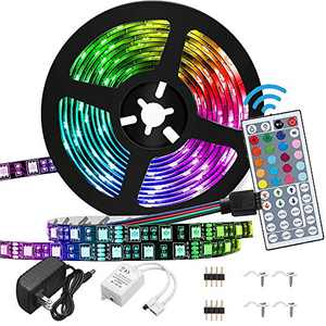Led Strip Lights Waterproof 16.4FT / 5M Flexible Color Changing RGB 5050 led Strip Light Kit with 44 Keys IR Remote Controller and 12V Power Supply for Bedroom Home Kitchen DIY Decoration