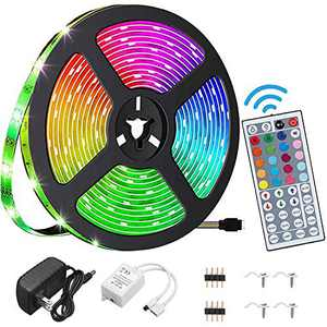 YEYEE Led Strip Lights Waterproof 16.4ft 5m Flexible Color Changing RGB SMD 5050 LED Strip Light Kit with 44 Keys IR Remote Controller for Bedroom Home Kitchen Decoration DIY (16.4)