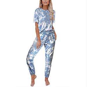 Tie Dye Lounge Sets for Women - Pajama Set Short Sleeve Sleepwear Nightwear Soft Pjs Sets with Pockets Navy 2XL