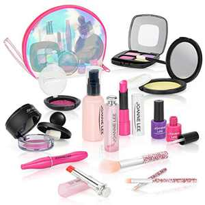BEAURE Pretend Makeup for Girls Kids Makeup Kit 13 pcs Pretend Play Makeup Toys for 3 4 5 6 7 8 Years Old Kids Girls Toys with Cosmetic Bag Birthday Gifts Princess Toys (Not Real Makeup)