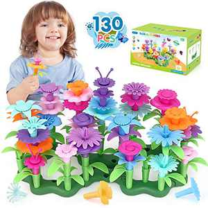 Flower Garden Building Block Toys Gifts,130 pcs Best Stem Toys for 3 Year Old Girl Growing Flower Blocks Educational Water Toys for Indoor Outdoor