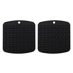"""Silicone Pot Holders for Kitchen 7""""x7"""", Multipurpose Trivets for Hot Pots and Pans, Nonslip Hot Pads for Oven, Potholders, Rubber Heat Resistant Mat, 2 Pack (Black)"""
