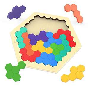 Puzzles for Kids, superwinky Wooden Hexagon Puzzles Toys for Kids 3-9 Year Old Christmas Girls Puzzles for Kids Ages 3-5 Educational Stocking Stuffer Gifts