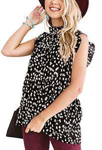 Womens Summer Babydoll Tops Casual Floral Ruffle Loose Shirt Tunic Peplum Blouse Black S