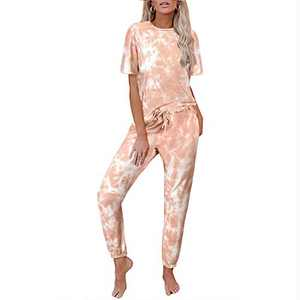 Tie Dye Lounge Sets for Women - 2 Piece Pajamas Crewneck Short Sleeve Drawstring Pants Pockets PJ Set Orange 3XL