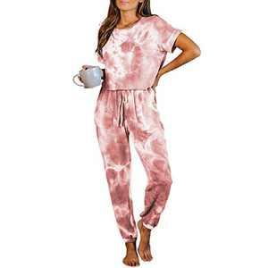 Tie Dye Lounge Sets for Women - Pajama Sets Short Sleeve Tops and Pants PJ Sets Joggers Loungewear Sleepwear Red 3XL