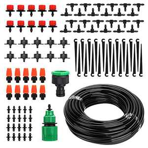 """AZFUNN Drip Irrigation Kit, Garden Drip Watering System with Adjustable Nozzle Sprinkler Sprayer Dripper, 15M 1/4"""" Blank Distribution Tubing Hose Suit for Garden Greenhouse, Flower Bed,Patio,Lawn"""