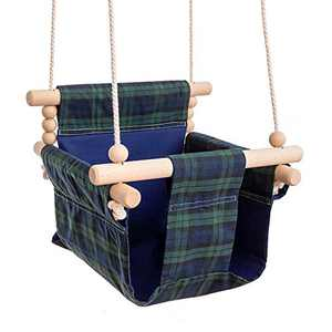 bopoobo Baby Canvas Swing Hanging Seat Chair Handmade, Indoor and Outdoor Hammock Crib for Toddler (Plaid)