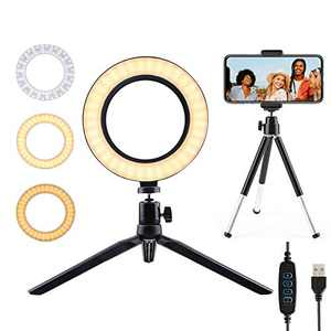 6'' Selfie Ring Light with Stand and Phone Holder,Portable LED Dimmable Desk Makeup Ring Light for Live Stream/Video Recording/YouTube/Photography,3 Light Modes&10 Brightness Levels