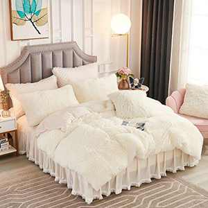 JAUXIO Luxury Long Faux Fur 2 PCS Bedding Set Shaggy Comforter Duvet Cover with Pillow Sham Ultra Soft Crystal Velvet Reverse (Twin, Cream)