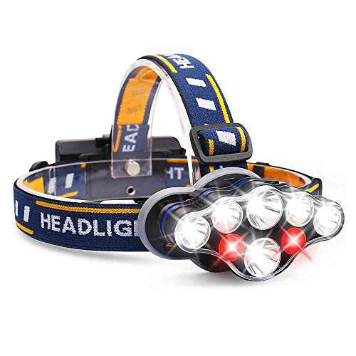 AOBISI Headlamp, 1300 Lumen 8 LED Headlight with White Red Lights, USB Rechargeable Waterproof Head Lamp, 8 Modes Headlamp Flashlight for Outdoor Camping,Cycling,Fishing,Running