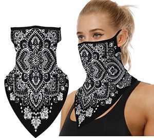 LOODA Bandana Face Mask Gators with Ear Loops for Women Mens,Neck Gaiter,Tube Mask,Face Scarf Black