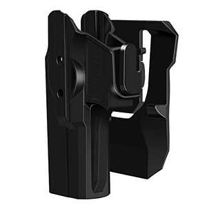 HQDA Glock 17 19 Holster Glock 17 19 19X 22 23 31 32 45 (Gen 1 2 3 4 5),Polymer Tactical Outside Waistband Carry Polymer OWB Holster with Adjustable Paddle (Glock 17 19 19X 22 23 31 32 Paddle Holster)