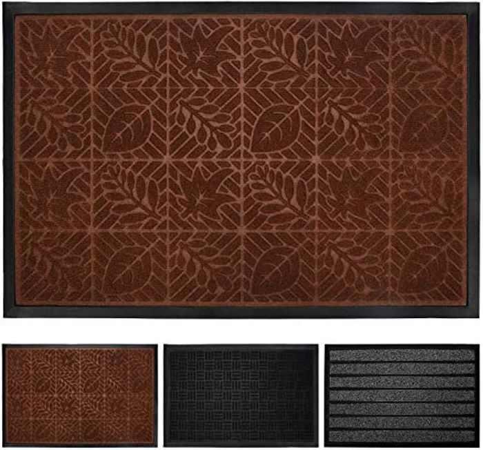 Switory Door Mats Durable Outdoor Entrance Mats Brown 60x90cm Heavy Duty Doormat, Waterproof, Easy Clean, Low-Profile Mats for Entry Rugs Dirt Debris Mud Trapper Carpet (Dark Brown)
