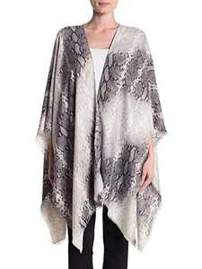 Breezy Lane Women's Shawl Wrap Poncho Animal Print Cape Cardigan for Winter Holiday